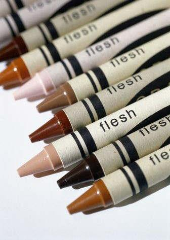 Flesh-colored crayons